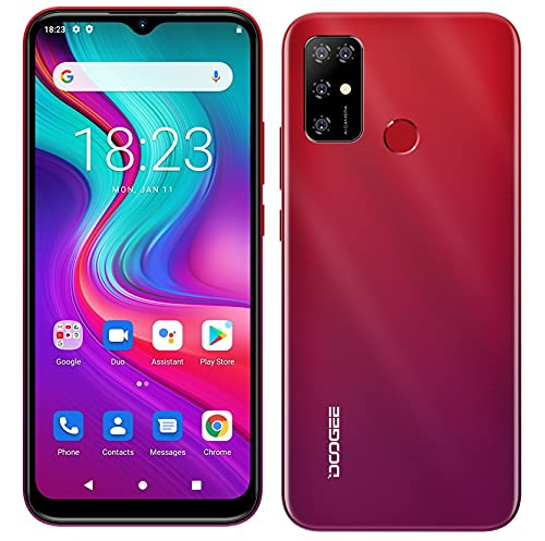 Teléfono Móvil Android 11 DOOGEE X96 Pro, Octa Core 4GB RAM 64GB ROM, Batería 5400mAh, Cámara Cuádruple 13MP, Pantalla HD+ 6,52 Pulgadas, Smartphone Dual SIM + SD (3 Ranuras), Huella Digital Rojo