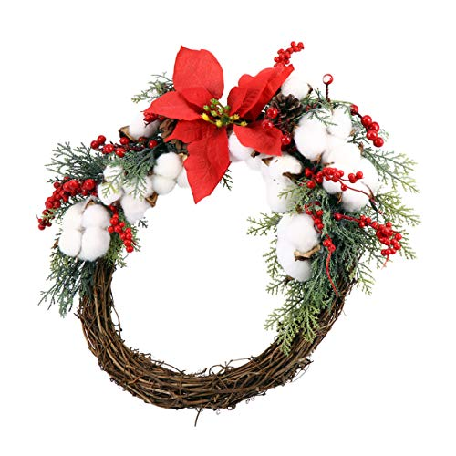 OSALADI Christmas Door Wreath Artificial Flower Rattan Hanging Garland Colgante con Frutos Rojos para Ventana Chimenea Ornamento