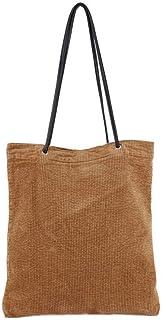 Ulisty Damen Grosse Kapazität Cord Schultertasche Mode Einkaufstasche Beiläufig Handtasche braun