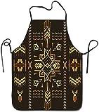 Cintura Geométrica Tribal Dibujado a mano Vintage Fondo azteca en ilustración vectorial Delantal marrón oscuro y mostaza Delantal de cocina unisex para cocinar Hornear Jardinería Limpieza