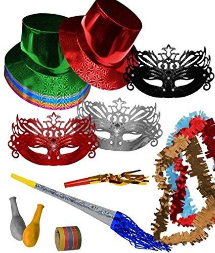 CAPRILO Lote de 10 Bolsas de Cotillones Decorativos Sombrero Copa Veneciano. Cotillón para Fiestas y Eventos. Decoración Original para Bodas, Comuniones,Cumpleaños y Fin de Año(Nochevieja).