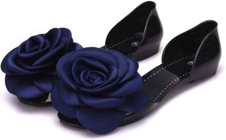Women Flat Jelly Sandals PVC Flowers Non Slip Comfort Casual Boho Beach Summer Ladies Peep Toe Sandal
