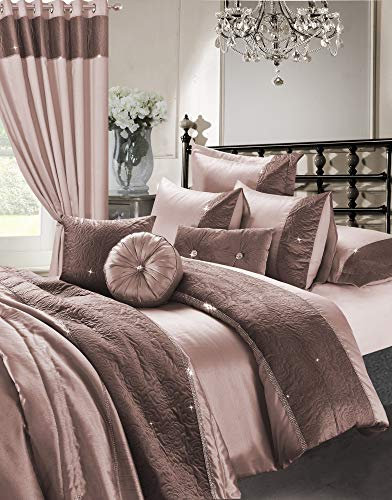 EHD Kylie Zina Diamante Embroidered Style Luxurious 7pcs Bedding Sets Quilt Cover Sets With Cushions and Fitted Sheet (Zina Rose Gold, Double Size)