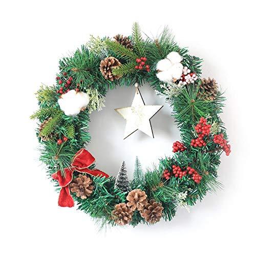LIJUMN - Ghirlanda di Natale in pino, ghirlanda sospesa di Natale, 15,75 cm, ghirlanda di Natale, con bacche a stella, per Natale, decorazione da parete