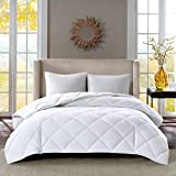 Sleep Philosophy Thinsulate Fibers 3M Scotchgard Moister Wicking Down Alternative Comforter with 100% 300TC Cotton Sateen Cover, Full/Queen, White