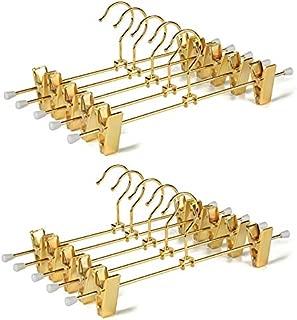Amber Home Shiny Gold Metal Slacks Pants and Skirt Hanger with Adjustable Clips Hang Rack with Hook (10)
