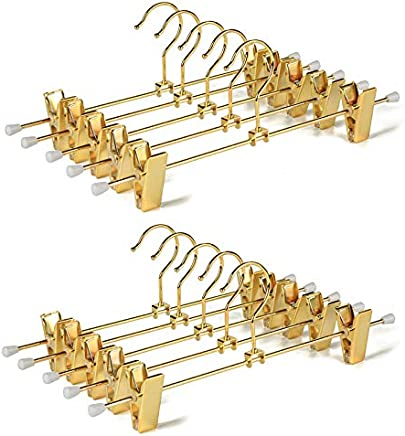 Amber Home Shiny Gold Metal Slacks Pants and Skirt Hanger with Adjustable Clips Hang Rack with Swivel Hook (10)