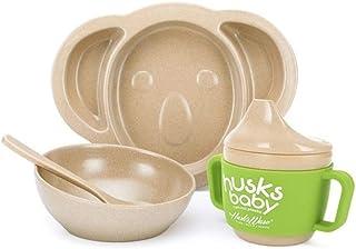 ERTONGHUANBAOCANJU Rice Hull Originative Children's Tableware Cunning Cartoon Pot Plate with Bowl (Color : Green)