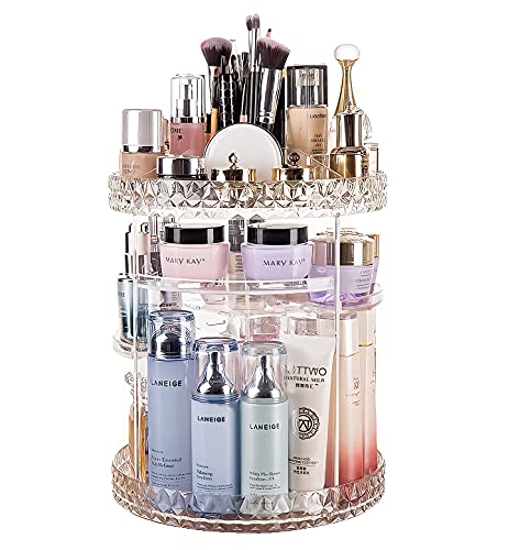 Twinkie Molly Rotating Makeup Organizer 360 Degree Adjustable Cosmetic Storage Display Case with Large Capacity, Fits Jewelry,Makeup Brushes, Lipsticks and More(Diamond Queen Style)