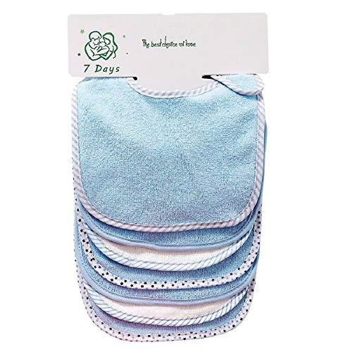 Lot de 7 bavoirs doux double couche 100% coton absorbant (blue)