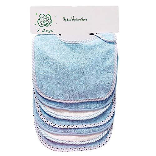 Lot de 7 bavoirs doux double couche 100% coton absorbant (blue)