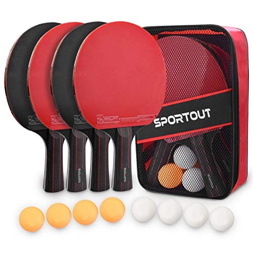 Sportout Ping Pong Paddle Set, Portable 4 Player Set, Pingpong Racket Set with 4 Paddles, 8 Balls and Carry Bag for Children/Adult Indoor Outdoor Games, Thanksgiving Day and Christmas GITS for Kids