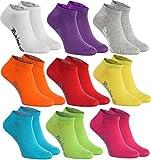 Rainbow Socks - Hombre Mujer Calcetines Cortos Colores de Algodón - 9 Pares - Blanco Púrpura Gris Naranja Rojo Amarillo Verde Mar Verde Fucsia - Talla 36-38