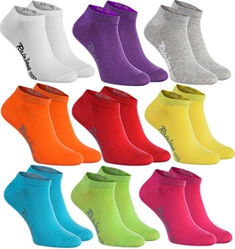 Rainbow Socks - Damen Herren Baumwolle Bunte Sneaker Socken - 9 Paar - Weiß Violett Grau Orange Rot Gelb Teal Grün Magenta - Größen 42-43