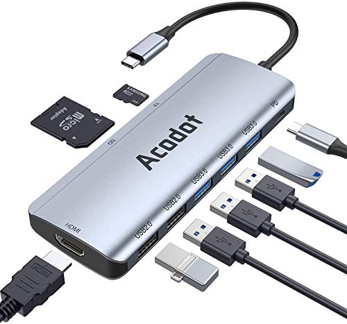 USB C Hub, 9 in 1 Type C Hub USB-C Multiport mit 3 USB 3.1 Gen 1 und 2 USB 2.0, Thunderbolt 3 PD 100W Stromversorgung, 4K HDMI 1000 Mbps,SD/TF Kartenleser Kompatibel für MacBook / Surface / iPad Serie