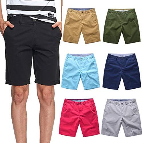 Yuelie - Pantalones Cortos Casuales para Hombre, Color Liso, Estilo Cargo de Combate, de algodón, Estilo Chino, para Verano, a la Moda Negro Negro (32