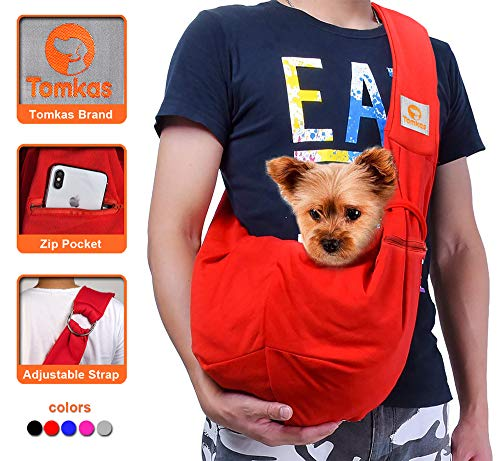 TOMKAS Small Dog Cat Carrier Sling Hands Free Pet Puppy Outdoor Travel Bag Tote Reversible(Black - Adjustable Strap for 3-10 lbs)