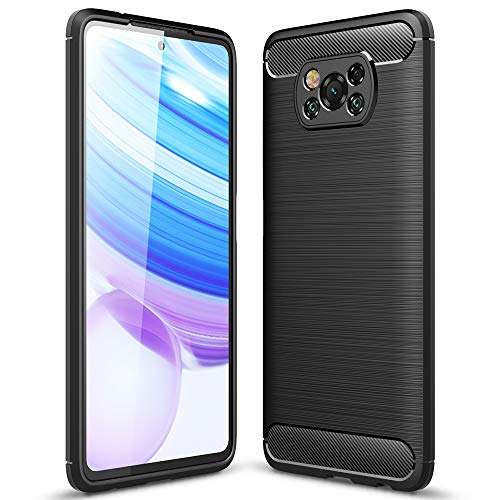 TANYO Cover Fibra per Xiaomi Poco X3 PRO | X3 NFC, Custodia Silicone TPU con Antiurto Protezione Bumper, Custodie Guscio Case Caso - Nero