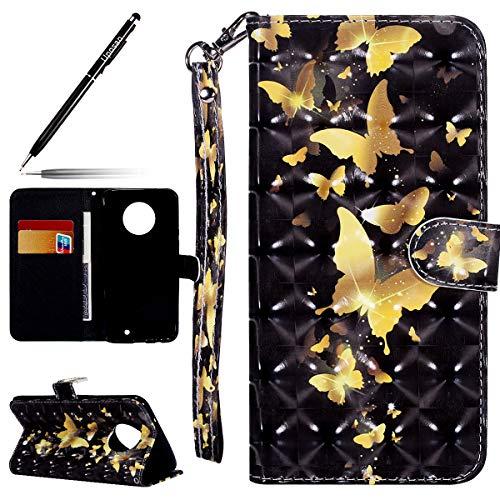 Uposao Kompatibel mit Handyhülle Motorola Moto X4 Wallet Hülle Leder Schutzhülle Flip Case Cover Ledertasche Handyhülle Klappbar Handytasche Bookstyle Glitzer Bling Leder Hülle,Gold Schmetterling