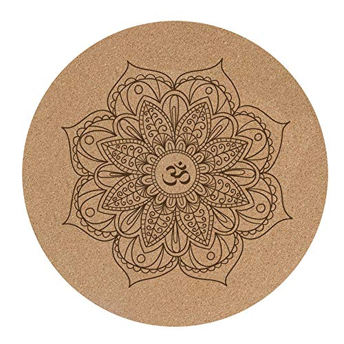 kMOoz Yogamatte, Runde Runde Fitnessmatte Pilates rutschfeste Kork-naturkautschuk-Übungsmatte Umweltschutzmatte Meditationsmatte 600mm * 600mm * 3mm