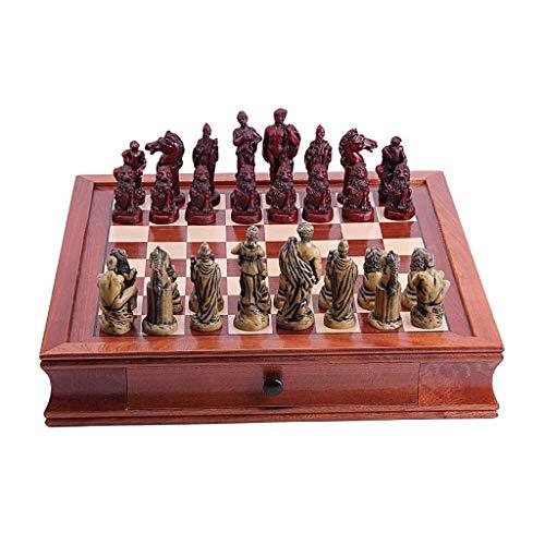 GYPPG Ajedrez Juego de ajedrez Tablero de ajedrez de Caoba Piezas de ajedrez artesanales, Juego de Tablero de ajedrez con cajones, Piezas de ajedrez de Resina para Regalos Juego de ajedr