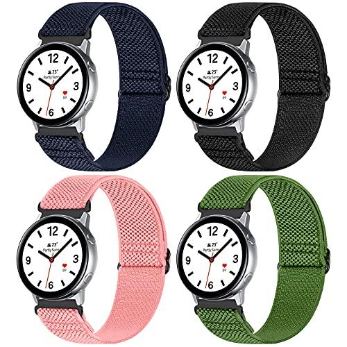 WNIPH 4 correas de 20 mm compatibles con Samsung Galaxy Watch Active 2 (40 mm/44 mm)/Watch 3 41 mm/Watch 42 mm/Gear S2, correas ajustables de nailon suave de repuesto