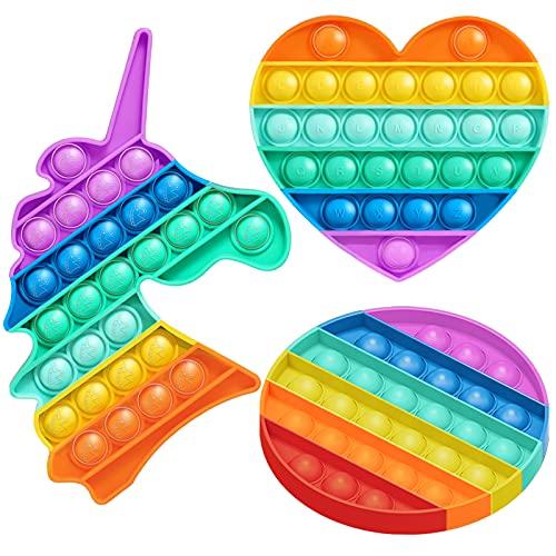Zaffaella 3 Rainbow Pop Fidget Toys, Push Pop Bubble Sensory Fidget Toys Anti-Anxiety Stress Relief Toys, Colorful Rainbow Unicorn Circle Round Heart with Alphabet Letters