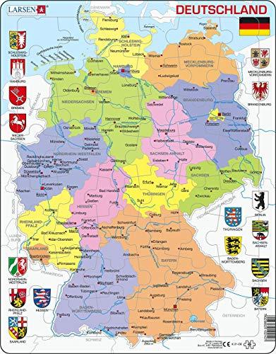 Larsen K21 Deutschland Politische Karte, Deutsch Ausgabe, Rahmenpuzzle mit 48 Teilen