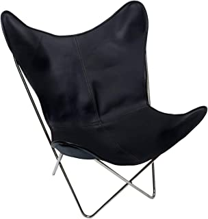 Original BKF Chair. 100% Handcrafted. Cowhide Leather Butterfly Chair from Argentina. Chrome Frame (Black)