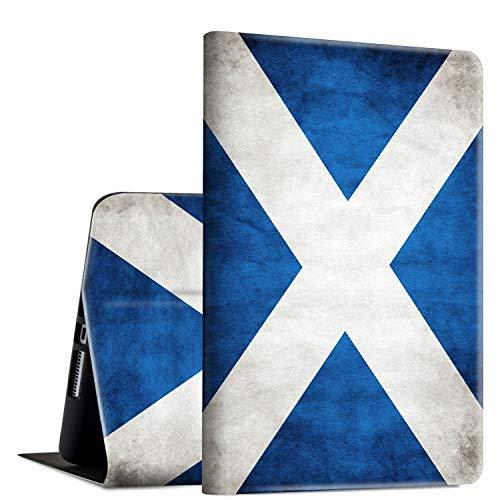 Rossy - Funda para tablet Amazon Kindle Fire HD 8 (7ª/8ª, 2017/2018), piel sintética tipo libro con función atril ajustable y función de encendido y apagado automático, diseño de bandera escocesa vintage