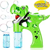 Bubble Gun,Dinosaur Bubble Shooter Electric Music Bubble Dispenser for Toddlers Soap Bubble Blower Toy Automatic Bubble Wand with Music and Lights Extra Refill Bottle Bubble Toy for Kids 3+ Years Old