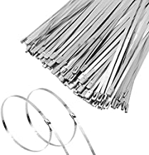 MAXSELL 20 Inch Metal Zip Ties, Heavy Duty 304 Stainless Steel Cable Ties, Metal Exhaust Wrap with 200 Lbs Tensile Strength(100 Pcs)