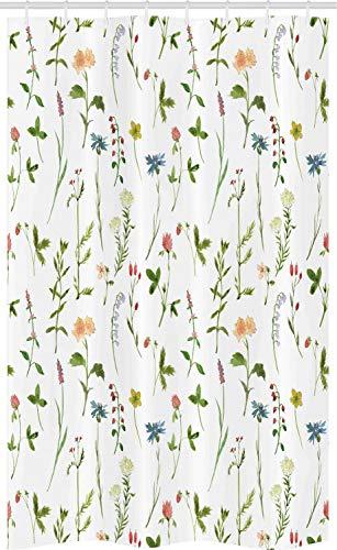 ABAKUHAUS Blumen Schmaler Duschvorhang, Herb Flowers Aquarelle, Badezimmer Deko Set aus Stoff mit Haken, 120 x 180 cm, Grün Rosa