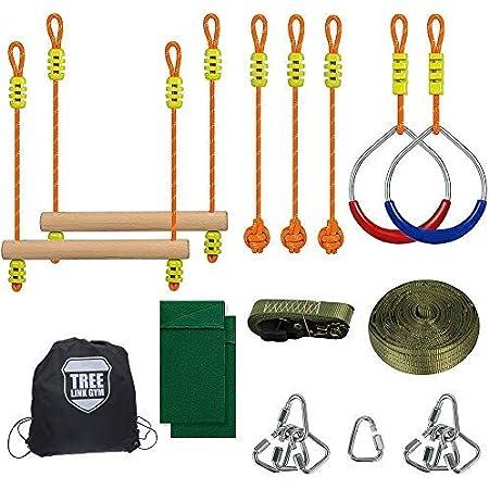 Kit de slackline 50FT Anneaux de Ninja /Échelle de corde descalade Filet de cargaison descalade /Équipement dentra/înement Ninja Warrior pour adulte et enfant SEAAN Parcours dobstacles /à Suspendre