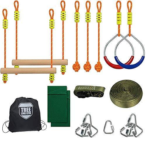 HAPPYPIE Ninja Slackline Monkey Bar Kit Outdoor Tree Hanging Obstacles Line Accessori Set da Gioco per Bambini