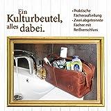 Corno d´Oro Große Leder Kulturtasche Damen & Herren I Männer Kulturbeutel für die Reise I Frauen XL Kosmetiktasche braun CD581 - 2