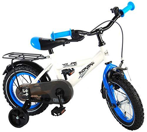 Volare Thombike Kinderfiets - Jongens - 12 inch - Wit/Blauw - 95% afgemonteerd