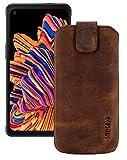 Suncase ECHT Leder Tasche kompatibel mit Samsung Galaxy XCover PRO mit ZUSÄTZLICHER Transparent Hülle | Schale | Silikon Bumper Handytasche (mit Rückzugsfunktion & Magnetverschluss) in antik-Coffee