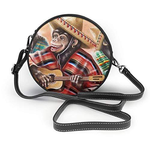 Nigel Tomm Monos en traje tradicional mexicano Tocando la guitarra Crossbody Bolso redondo Bolsos de cuero Bolso mensajero para mujer