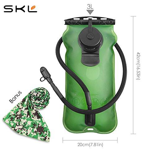 SKL 3 Liter Trinkblase Große Öffnung Wasserblase FDA Geprüfter BPA-frei Trinksystem ideal für Outdoor-Radfahren, Wandern, Laufen, Camping, Walking - 5