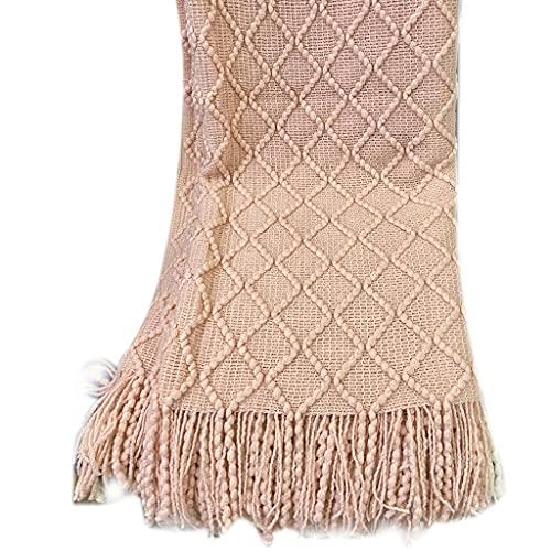 A FEI Manta de sofá de malha acrílica com borlas, losango, xale texturizado, leve, capa de tecido macio