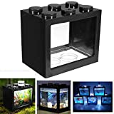 Aquarium LED Complet pour Débutants, LED Aquarium Mini Fish Tank, Bettas Clair Bloc Aquarium Fish Tank Reptile Box USB Bureau...