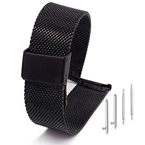 Adallor Cinturino 22mm 20mm 18mm, Cinturino per Orologio in Acciaio con Perni, Cinturino Orologio Smartwatch Straps