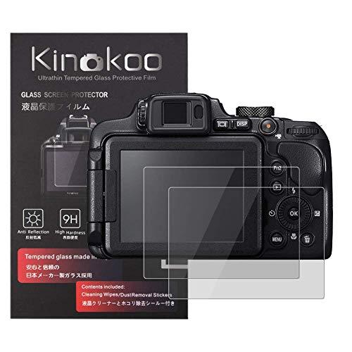 kinokoo 液晶保護フィルム Nikon Coolpix P900 B700 P610 P600 S9900専用 硬度9H 高透過率 耐指紋 気泡無し 強化ガラス 厚さ0.3mm 2枚セット 標識クロス付き(P900/B700/P610/P600/S9900専用)