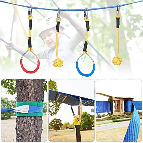 Kacsoo - Corso di allenamento per ostacoli ninja Slackline, per bambini, 9 accessori, per arrampicata, corda da arrampicata, altalena, attrezzatura da allenamento, idea regalo per bambini