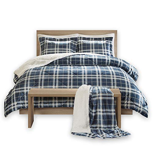 Comfort Spaces Aaron Sherpa Comforter and Throw Combo Set, Ultra Softy Fluffy Warm Checker Plaid Pattern Cold Weather Bedding, Full/Queen, Navy