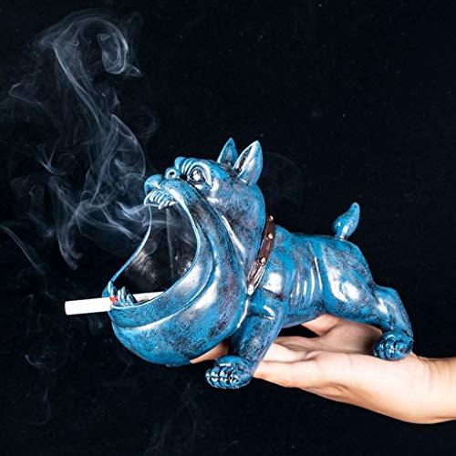 NNR Cenicero Resina Cachorro en Forma de cenicero, Interior y Exterior, hogar u Oficina Creativo y de Moda cenicero se Puede Dar a Amigos Cenicero Interior (Color : Blue)