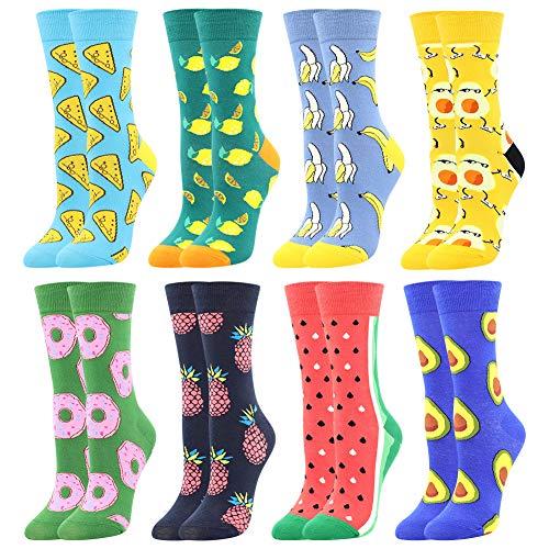 Damen Lustige Bunte Socken,Mädchensocken witzige Strümpfe, Fun Gemusterte Muster Socken, Verrückte Socken Modische Oddsocks Mehrfarbig Klassisch als Geschenk, Neuheit Sneaker (8 Paar-Cookies)