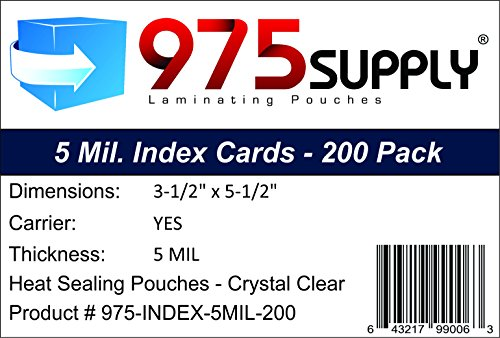 975 Supply 5 Mil Index Card Laminating Pouches, 3.5 x 5.5 inches, 200 Pouches