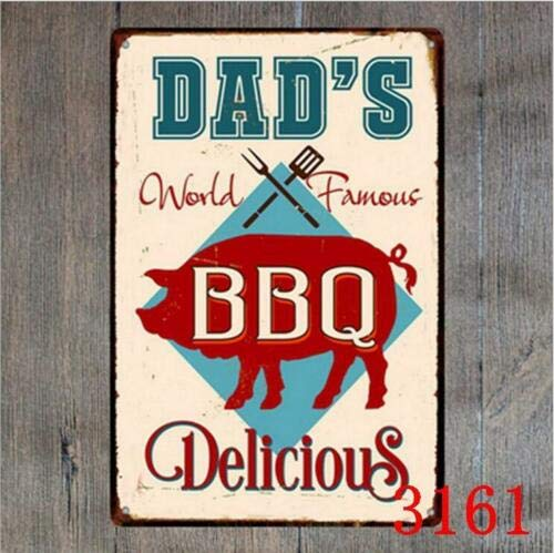 Cartel de metal para decoración de pared, diseño vintage con texto en inglés 'Dad's BBQ Delicioso'